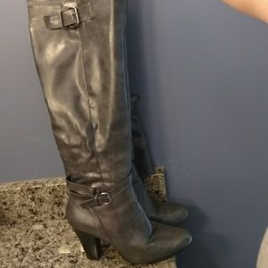 Gray faux leather boots